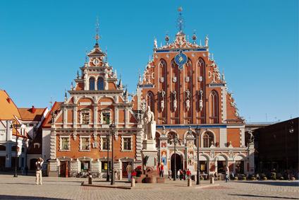 Das Schwarhäupterhaus auf dem Rathausplatz Rigas