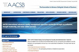 Screenshot der AACSB Homepage