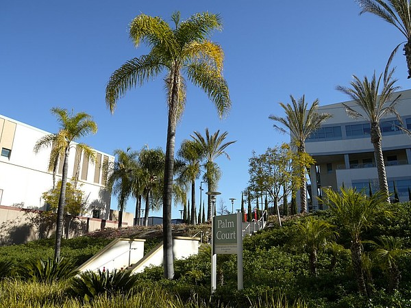 Der Palm Court auf dem Campus der California State University, San Marcos