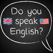 Sprichst Du schon Englisch? Logo mit Flagge der USA und Großbritannien