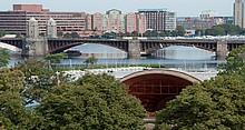 Blick vom Fisher College auf Boston