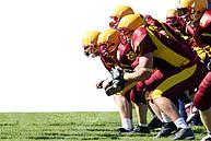 Footballspieler beim Line-up