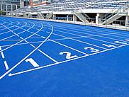 Startbereich einer Leichtathletikbahn