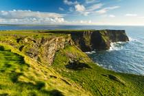Irische Küste mit endlosen grünen Wiesen