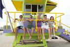 Sprachschüler im bunten Strandhaus South Beach Miami