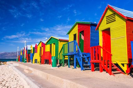 Bunte Häuser in Südafrika