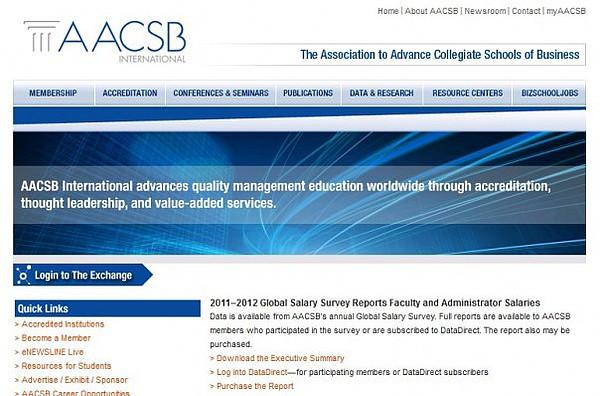 Screenshot der Homepage der AACSB